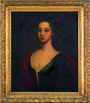 English or American oil on canvas portrait of a young woman 18th c