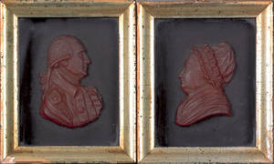 Pair of wax profile relief portraits of George and Martha Washington 19th c