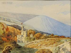Myles Birket Foster British 18251899 Landscape with Castle