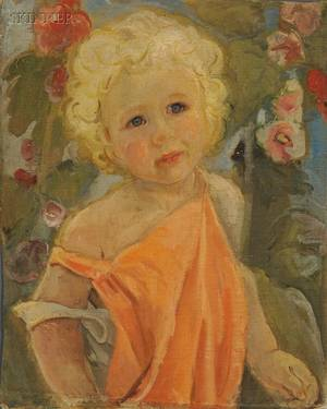 Pierre Francis Daura American 18961976 Portrait of a Young Girl in an Orange Dress