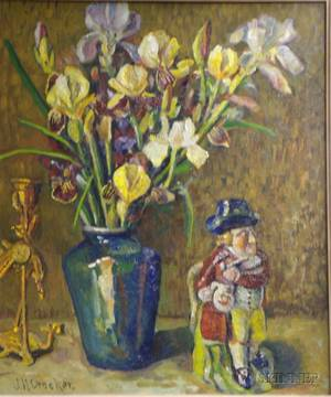 Framed Oil on Canvas Still Life with Irises and Figurine
