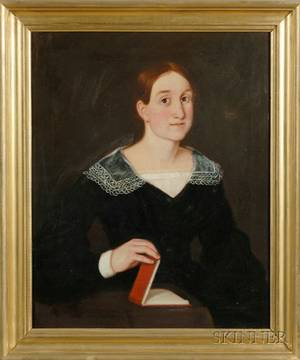 American School 19th Century Portrait of a Young Woman in Black Dress with a Red Book