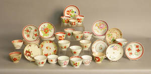Group of pearlware cups and saucers