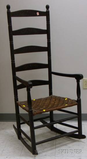 Painted and Stencil Decorated Ladderback Armchair with Woven Splint Seat