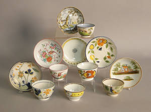 Six pearlware cups and saucers