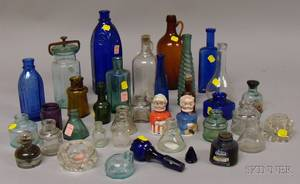 Collection of Glass and Porcelain Ink Bottles and Fourteen Assorted Colored and Colorless Glass Bottles and Items