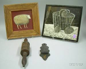 Two Folk Carved Wooden Items and Two Framed Decorative Folk Art Items
