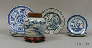 Eight Pieces of Chinese Export Porcelain Blue and White Canton Tableware and a Crackle Glazed Blue and White De