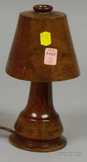 Small Turned Wood Table Lamp and Shade