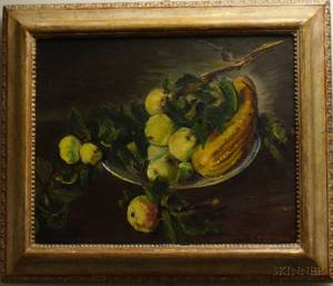 Framed Gregory McLoughlin Oil on Board Still Life Summer Apples