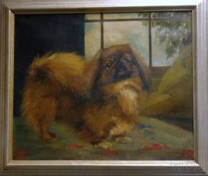 Framed 20th Century American School Oil on Canvas Portrait of a Pekinese