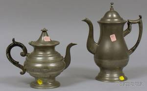 Roswell Gleason Pewter Coffeepot and a Footed Pewter Teapot