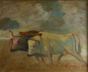 Framed 20th Century Oil on Masonite Landscape with Oxen