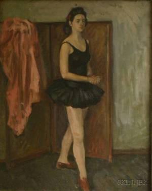 Framed 20th Century American School Oil on Panel Portrait of a Ballerina