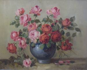 Framed 20th Century American School Oil on Canvas Still Life with Roses