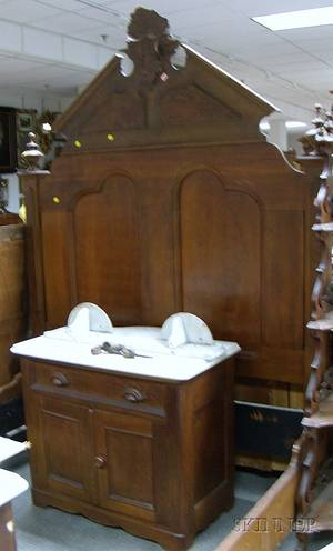 Victorian Renaissance Revival Carved Walnut and Burl Veneer Bed with a White Marbletop Commode