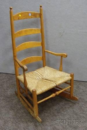 Maple Ladderback Armrocker with Woven Rush Seat