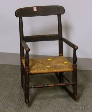 Childs Grained and Paint Decorated Armrocker with Woven Rush Seat