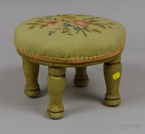 Circular Floral Needlepoint Upholstered Footstool with Greenpainted Turned Wood Legs