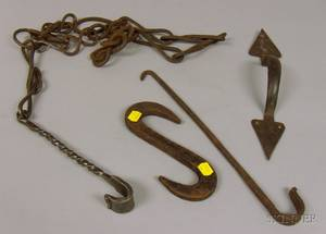 Group of Assorted Wrought Iron Hearth and Architectural Hardware