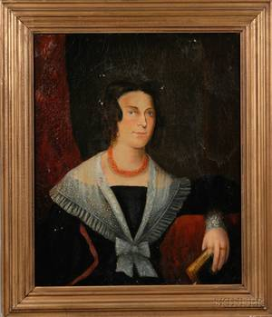 Framed Early 19th Century American School Portrait of a Lady with a Coral Necklace