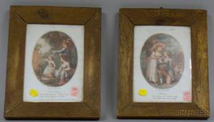 Pair of Yellowpainted Pine Framed English Prints Pity and Youth
