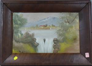 Framed 19th Century American School Oil on Canvas Landscape with Waterfall