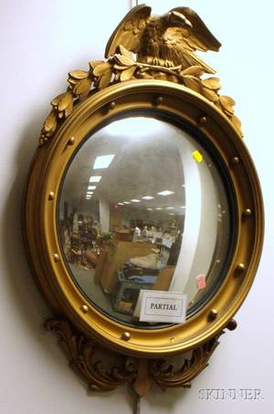 Federalstyle Giltwood and Gesso Convex Girandole Mirror and a Goldpainted Circular Gesso and Wood Mirror with Beveled Glass