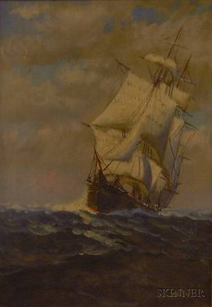 Framed American School Oil on Canvas Sailing Ship at Sea