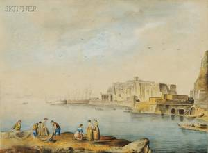 Italian School 18th19th Century Fisherfolks on an Italian Coast