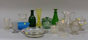 Fifteen Miscellaneous Colorless and Colored Pressed and Blown Glass Table Items