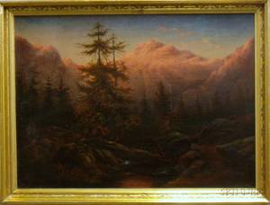 19th Century American School Oil on Canvas Western Mountain Landscape