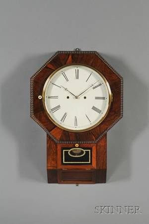 Rosewood Drop Octagon ThirtyDay Lever Spring Wall Clock by Atkins Clock Company