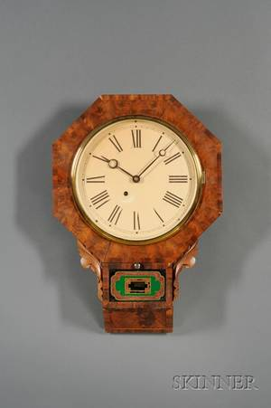 Mahogany Drop Octagon Wall Clock by New Haven Clock Company