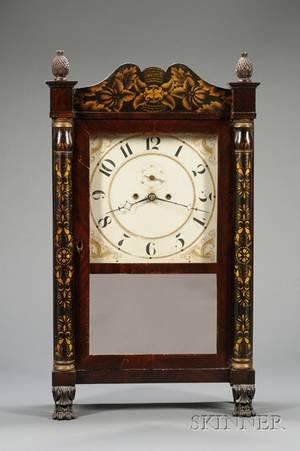 Mahogany Stenciled Column and Splat Shelf Clock by Spencer Hotchkiss  Company