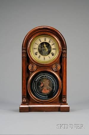 Rosewood Venetian Tin Plate Shelf Clock by E Ingraham