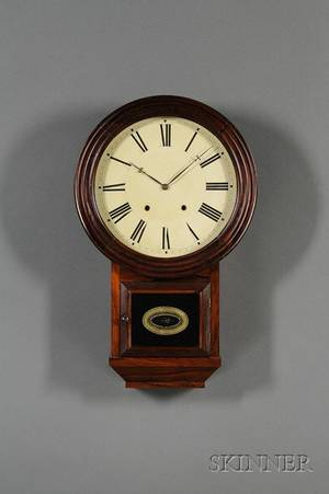 Rosewood Round Top ThirtyDay Fusee Wall Clock by Atkins Clock Company
