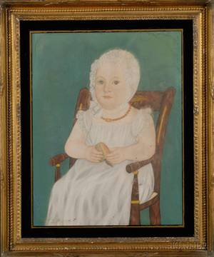 Attributed to Micah Williams New Jersey and New York 17821837 Portrait of a Child Seated in a Paintdecorated Windsor Chair