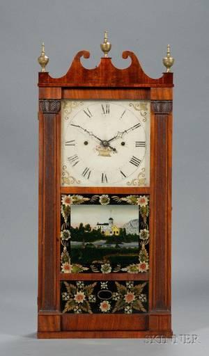 Mahogany Reeded Pillar and Scroll Shelf Clock by Jerome Thompson  Company