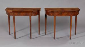 Pair of Federal Inlaid Mahogany Card Tables