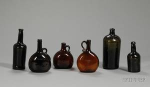 Six Colored Blown Glass Bottles