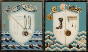 Pair of Reverse Paintings on Glass with Fisherman Theme