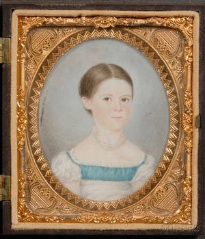 Portrait Miniature of a Girl in a White Dress with Blue Bodice