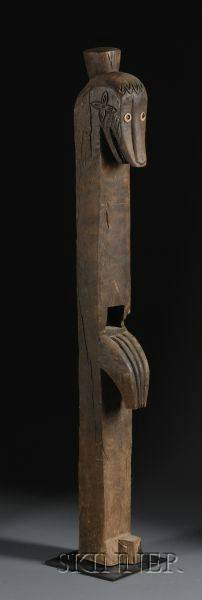 Indonesian Carved Wood Post