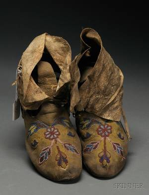 Pair of Beaded Hide Northern Plains Moccasins
