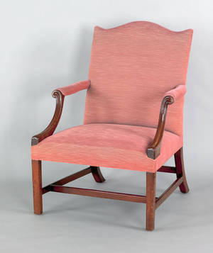 George III mahogany open armchair mid 18th c