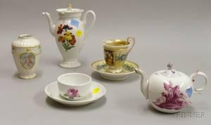 Five Pieces of Porcelain Tea Wares