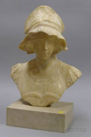 Italian 19th c Carved Alabaster Bust of a Woman
