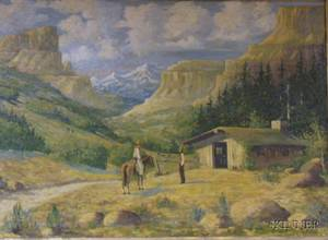 Framed Oil on Canvas Western Scene with Figures and Distant Mountains by Robert M Raber American 20th Century