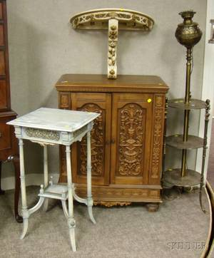Painted Victorian Wooden Stand an Italianstyle Painted Carved Wood Demilune Wallmounting Pier Table a Late